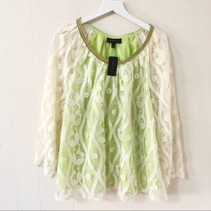 NWT Lane Bryant lace cream & green blouse (18/20)